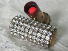 Vintage JEWELED Rhinestone Lipstick Holder Tube Case Art Deco Clear Prong Set