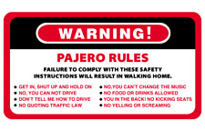 Warning Rules Pajero Series 4WD 4x4 Vehicles Decal Stickers