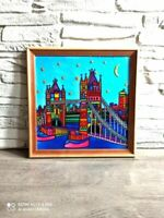 London paiting on glass Tower Bridge Painting Abstract Art Cityscape Painting