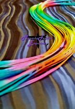 Long feather hair extensions multi tone ombre Bright Tropical Rainbow beads