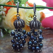 FC061915 Blue Freshwater Pearl Earrings CZ Pave Leverback