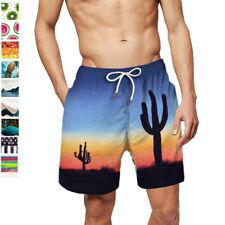 Men's Swim Trunks Quick Dry Beach Shorts with Pockets Elastic Waist Drawstring