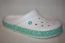 CROCS CLOSED TOE WHITE YELLOW TEAL SLIP ON MULES CLOGS WOMENS SZ 12  MENS 10