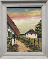 Häuser im Abendlicht signiert Skandinavien Expressiv 36,5 x 30,5 cm Ölbild