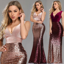 Ever-Pretty US V-neck Evening Dress Long Sequins Mermaid Bodycon Prom Gown 07767