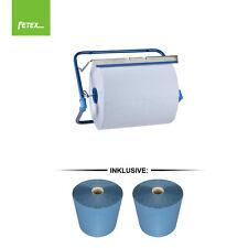 2 x Putzrollen blau Putzrolle 26x38cm 3-lag Putztuchrolle Werkstatt + Wandhalter