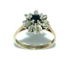 Ladies womens 9ct 9carat yellow gold diamond & sapphire ring UK size I 1/2