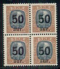 ICELAND #138 (102)  50a/5kr Ovpt, Block of 4, og, NH, F/VF, Facit $900.00