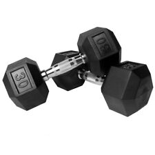 NEW COATED RUBBER HEX DUMBBELLS select-weight 5, 10,15, 20, 25,30 SET LOTS L@@K!