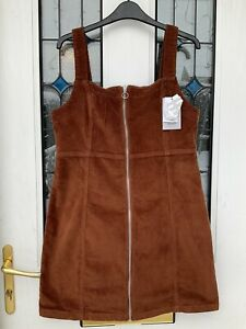 Denim Co Tobacco Cord Pinafore Dress size 16 New With Tags