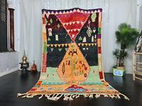 "Boujad Handmade Moroccan Vintage Rug 5'3""x8'7"" Patchwork Black Orange Berber Rug"
