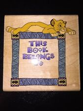 Disney Lion King Wood Rubber Stamp Simba's Bookplate A456-H This Book Belongs To
