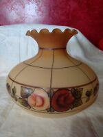 Lamp Shade Globe Glass Hurricane GWTW Large Replacement Yellow Floral Gold VTG