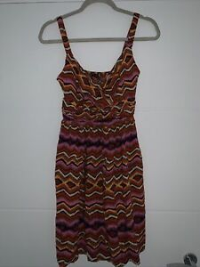 Orange Pink Aztec Summer Dress Size 8 Casual Stylish Cute Blogger Fashion Pretty