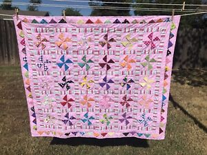 """New Pink Cute Elephants Handcrafted Baby Lap Crib Quilt 46"""" X 52"""""""