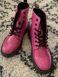 Doc Martin Pink Leather Luana Combat Boots. Air Wair Bouncing Sole. Sz 8 US