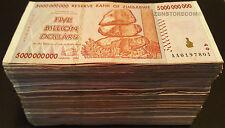 5 Billion Zimbabwe Dollars x 500 Banknotes 5 x Bundle AA AB 2008 Currency 500PCS
