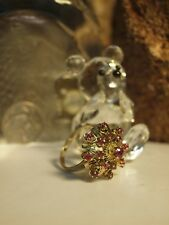18CT YELLOW GOLD LADIES NATURAL RUBY CLUSTER RING / SIZE : U / APPROX 1.13 CARAT