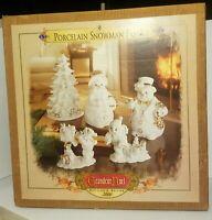 **Grandeur Noel Porcelain Snowman Family 5pc Set 2000 In original box**