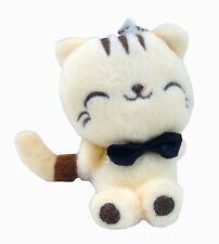 Light Yellow Long Tail Cat Kitty Soft Plush Stuffed Animal Keychain Suction Cup