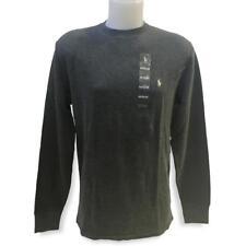Men's Polo Ralph Lauren Thermal Waffle Knit Jersey Long Sleeve Dark Gray XL