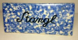 Rare Stangl Dealer Sign in Blue Color_XLNT_VTG Art Pottery Figurine