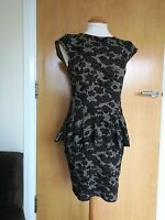 Ladies Dress Size 12 RIVER ISLAND Brown Black Peplum Wiggle Stretch Party
