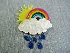 Modern BROOCH Handmade Rainbow Sunshine after the Rain acrylic Resin badge pin