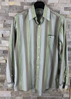 """Lacoste Mens 40"""" Green Striped Long Sleeve Shirt"""