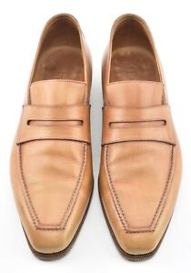 BERLUTI 9 ANDY TAN CALFSKIN PENNY LOAFER DRESS SHOES