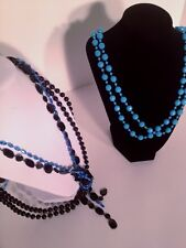 """Bisou 30"""" Great Summer Black and Blue Strands Beaded Fashion Necklaces"""