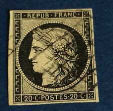France N°3 20 C Noir Sur Jaune Obli TB Choix Cote,60€