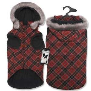 Zack & Zoey Diamond Plaid Dog Coat XS, SM, MED, XLG Hoodie WARM USA Coats