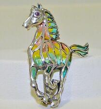 GENUINE! 0.03cts! African Ruby, Pastel Enamel Horse Brooch Sterling Silver 925.