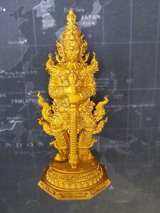 Giant God Wessuwan Worship Brass Statue Wat Chulamanee Temple Thai Buddha Amulet