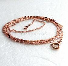 """fashion1uk Rose Gold Plated Chain Necklace HH Links 60cm 23.5"""" Long Thin 1.2mm"""