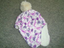 Cosy pink, purple and ivory butterfly hat with ear flaps, M&CO.,  6-12 months