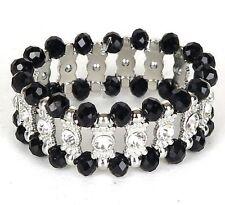 """Beaded Black Silver Stretch Bracelet Crystal Rhinestones Fashion Jewelry 3"""" New"""