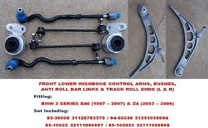 FOR BMW 3 SERIES E46 328 330 FRONT LOWER SUSPENSION WISHBONE ARMS, BUSHES & LINK