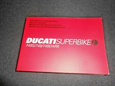 BRAND NEW GENUINE DUCATI 749/749S/749DARK 2006 OWNERS MANUAL 91371141A