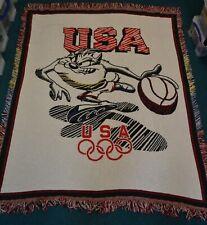Vintage Taz Basketball USA Olympics 1996 Blanket Rug Dream Team Tasmanian Devil