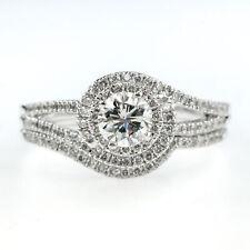 Accent Bridal Set in 14K White Gold 0.90ctw Round Diamond Swirl Halo Split Shank