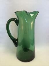 """Green Glass Pitcher 10"""" Tall"""