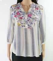 Figueroa & Flower Women's Blouse Gray Small PS Petite Floral Striped $38 #027
