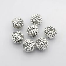 5pcs Resin Rhinestone Beads DIY Material for Jewelry Making Round Silver Charms