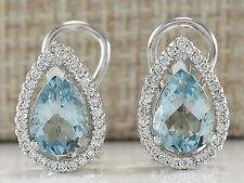 Women Fashion 925 Silver Aquamamrine Gemstone Stud Clip Earring Wedding Jewelry