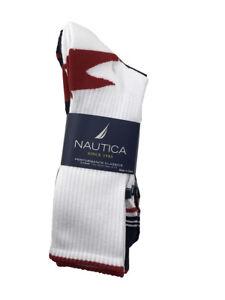 Nautica 12 Pairs Men Sports Crew Socks Shoe Size 6-12 for 10-13 White Blue Strip