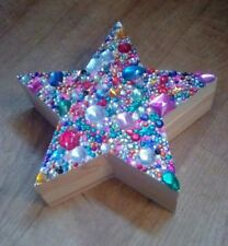 LARGE HAND DECORATED GEM ENCRUSTED STAR SHAPED WOODEN BOX  see pics