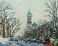Montreal Winter Scene, Mile End,  8x10, Oil , Darlene Young Canadian Artist