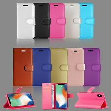 FOR APPLE IPHONE 6S & MANY BOOK WALLET LEATHER FULL SAFE CASE COVER PLAIN COLOUR